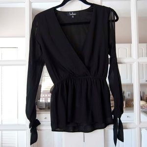 Lulus Black Blouse with Cut Out Detail On Sleeves